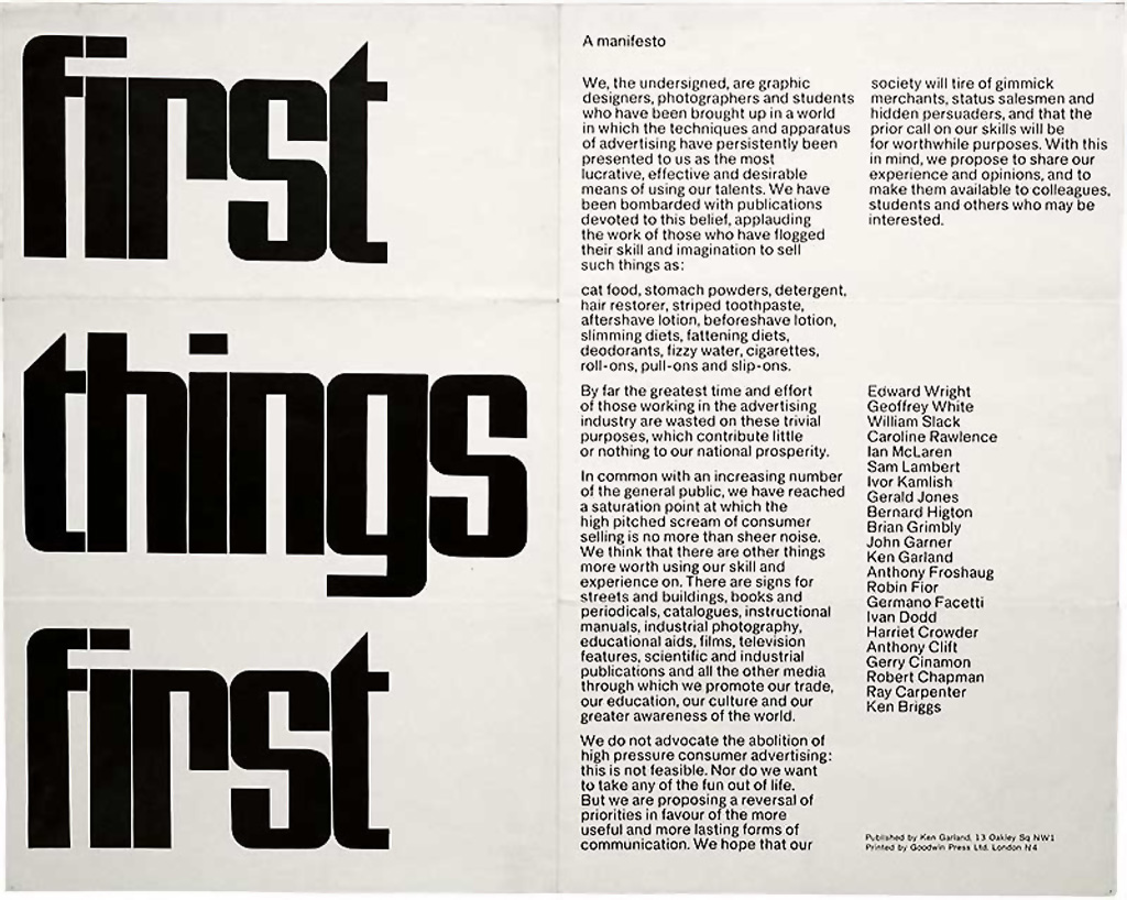 Manifesto Image: First Things First Manifestos: 1964 And 2000